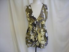 "Ladies Top Benetton L green/khaki bust 38-40"" length 29"" sleeveless tunic 1741"
