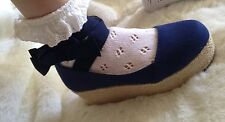 Liz Lisa Tralala New Navy Fabric  Flatforms Shoes Japan Kawaii Gyaru Lolita