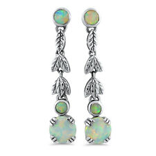 LAB WHITE OPAL 925 STERLING SILVER ANTIQUE DESIGN DANGLE EARRINGS,  #665