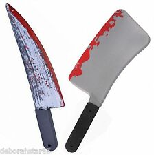 Large Halloween Bloody Knife + Cleaver Evil Monster Butchers Weapon Costume Prop