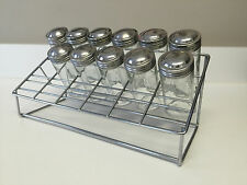 Vintage Retro Rare Unique Metal Tiered Spice Rack With 11 Glass Spice Bottles