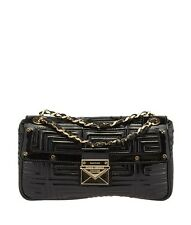 Gianni Versace Couture Black Quilted Patent Leather Shoulder Bag