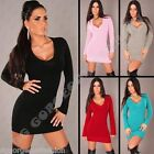 New Sexy Ladies Womens V-Neck Tunic Jumper Sweater Mini Dress Top S/M/L 8/10/12