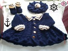 Baby coat hat + booties knitting pattern in chunky yarn.