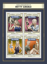 Sierra Leone 2016 MNH Betty Grable 4v M/S Pin-Up Girls Movie Stars Stamps