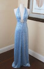 Jovani Blue Silver Sequin Beaded Evening Formal Prom Dress Gown Size 4 Halter