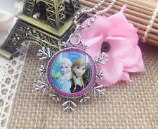 Hot FROZEN PENDANT Silver Plated CHAIN NECKLACE ROYAL PRINCESS X8