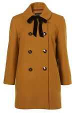 TOPSHOP Mustard Yellow Velvet Tie Double Breasted Coat SIZE:UK 12, EU 40, US 8