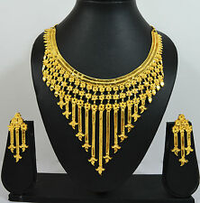 Flower Series Fancy Machine Cut Gold Forming Necklace Earring Set for Women