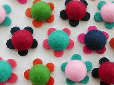 100! GORGEOUS FAUX BUTTON FELT FLOWER EMBELLISHMENTS - COLOUR MIX! - 22MM/0.8""