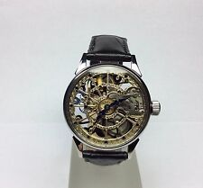 HAND ENGRAVED WATCH  SKELETON . MECHANIKAL. MOVEMENT USSR 166