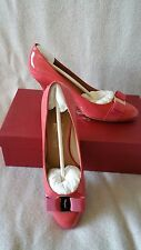 Salvatore Ferragamo Vara Bow Carla 8.5B 7cm Pump Heel Patent Pink Morning Rose