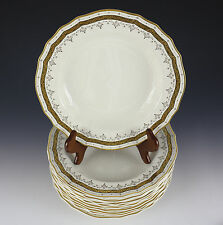 "12pc Brown, Westhead & Moore Co. Cauldron Rimmed Soup Bowls 9.5"" 1881 Gilt Cream"