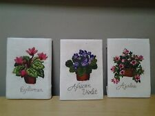 """Vtg Set Of 3 Completed Needlepoint Floral Pictures Wall Hangings, each 5"""" x 7"""""""