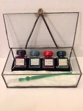 Francesco Rubinato Ink Set With Glass Case And Pen Made In Italy Red Blue Green