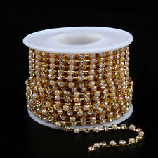 Rhinestone chain golden base 6mm pearl SS28 crystal strass sew on chain 5yards