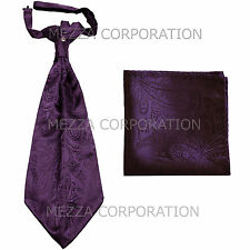 New Vesuvio Napoli Men's Polyester Ascot Cravat Necktie Hankie Paisley Grape