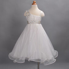 New Girls Ivory Flower Girl Bridesmaid Pageant Wedding Party Dress 7-8 Years