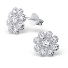 Flor Aretes con hermoso CZ brillantes piedras preciosas plata esterlina-real