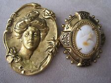 ANTIQUE  LOT OF 2 CAMEO NOUVEAU BROOCH/PIN
