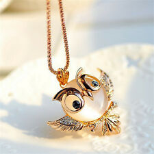 Women Hot Fashion Charming Opal Rhinestone Crystal Owl Pendant Necklace Jewelry
