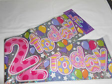 3 GIANT FOIL HAPPY 2nd BIRTHDAY BANNER / SASH WALL BANNER / PARTY DECORATION G2