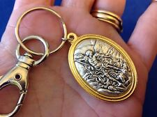 ARCHANGEL ST MICHAEL Saint Medal Key Chain Key Ring TWO Tone Metal PROTECTION
