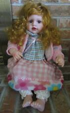 Cathay Vinyl Doll Long Curly Red Hair Blue Eyes Lashes Giggle Box 20""