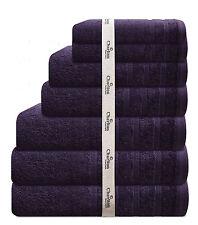 7 PCE 575GSM EGYPTIAN COTTON TOWEL SET 2x BATH / HAND / FACE TOWELS 1xMAT PURPLE