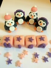Edible Penguin Set And Name Blocks Decoration Icing Topper