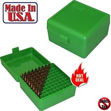MTM Case Gard 100 Round Rifle Ammo Box 17 204 223 Rem 5.56x 45 Green Storage