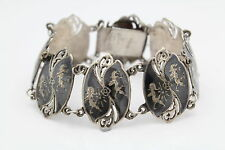 """Vintage Siam 7"""" Ornate Shield Panel Bracelet in Niello and Sterling Silver"""
