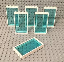 Lego X6 New White Door Frame 1x4x6 With Trans-Light Blue Glass Window Wall Parts