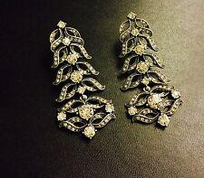 $325 Lulu Frost Rococo Crystal Antique Silver Chandelier Statement Drop Earrings