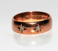 Victorian Old Cut Diamond 9ct Rose Gold Wedding Band Ring Size P 1/2 ~ 8