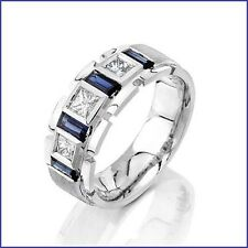 Beautiful 1.75ct Men's Diamond & Sapphire PLATINUM Beverly Hills Designer Band