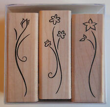 Set of 3 Flower Rubber Stamps - Wood Mounted