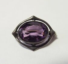 CHARLES HORNER AMETHYST STERLING SILVER 925 ANTIQUE BROOCH JEWELLERY