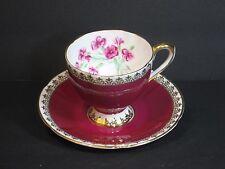 Taylor & Kent Bone China Tea Cup & Saucer, England, Burgundy, Flowers & Gold!
