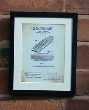 """USA Patent Vintage SURF BOARD SURFING Mounted PRINT 10"""" x 8"""" 1956 Gift Xmas"""