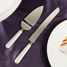 White Mother Of Pearl like Handle Wedding Cake Knife & Server Set