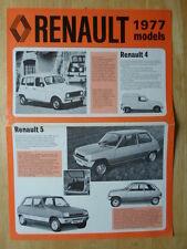 RENAULT RANGE 1977 UK Mkt Sales Brochure - 4 5 6 12 14 15 16 17 20 30