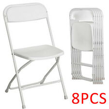New Set Of 8 Commercial White Plastic Folding Chairs Stackable Picnic Party
