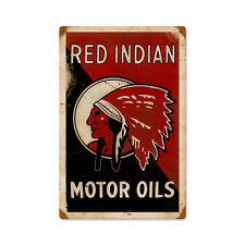 RED INDIAN MOTOR OILS Metall Schild 45cm Native Gasoline Texan Werkstatt Garage