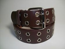 """Men Leather Belt Two Hole Metal Brown with Silver Buckle L 38 - 40"""" #9915B"""