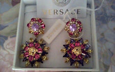 AUTHENTIC NWT VERSACE  MULTICOLOR SWAROWSKI CRYSTAL MEDUSA EARRINGS $925