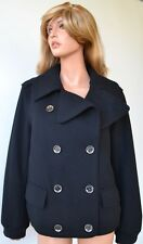 NEW BURBERRY BRIT BLACK MILITARY WOOL CASHMERE PEA COAT JACKET~10 44