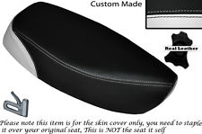 WHITE & BLACK CUSTOM FITS SUZUKI CS 125 82-86 DUAL LEATHER SEAT COVER ONLY