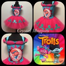 Dreamworks Trolls Inspired Tutu Dress Princess Poppy Fancy Dress Costume