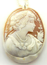 M+M SCOGNAMIGLIO HAND CARVED CAMEO PENDANT PEARL NECKLACE